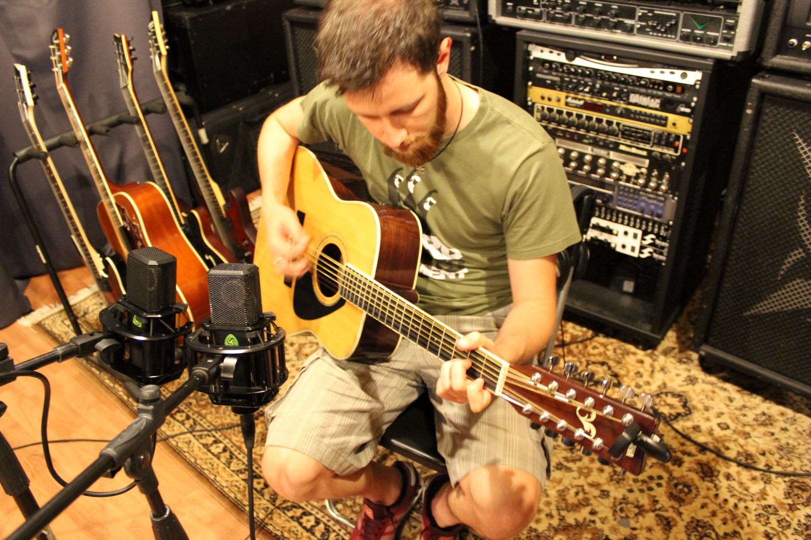 Mauro Paganelli recording a 12 string guitar